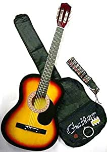 38 inch student beginner royal brown acoustic guitar with carrying case. Black Bedroom Furniture Sets. Home Design Ideas