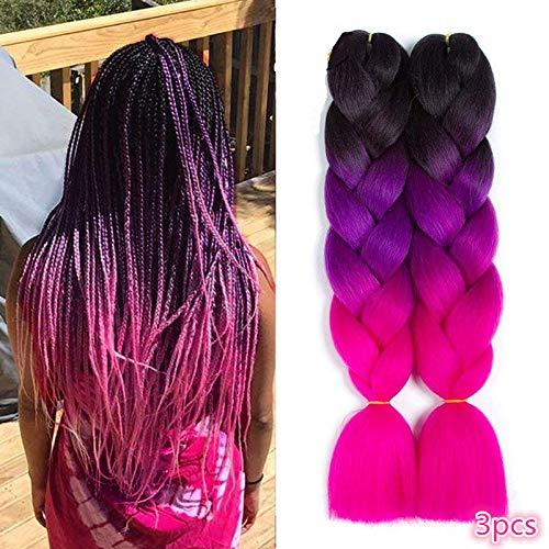 "Braiding Hair Synthetic Ombre Hair Kanekalon Braiding High Temperature Fiber Crochet Twist Braids (24"", 3 pcs Black+purple+hot pink)"