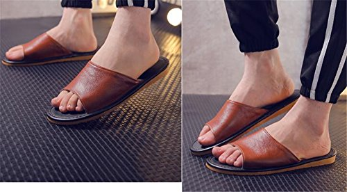 Cowhide Autumn Slippers Summer M TELLW Smelly Spring Women Corium Leather for Men Floor Brun Wooden Anti AF5tAnIvqx