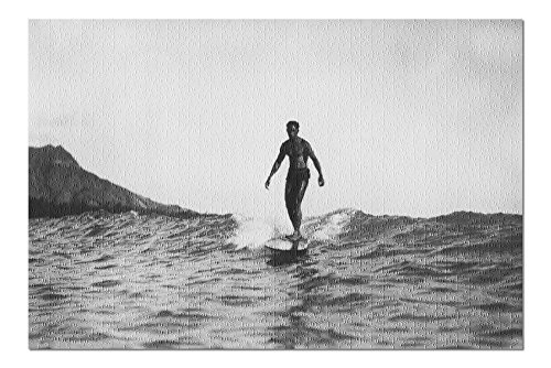 - Surfing in Honolulu Hawaii Longboard Surfer - Vintage Photograph (20x30 Premium 1000 Piece Jigsaw Puzzle, Made in USA!)