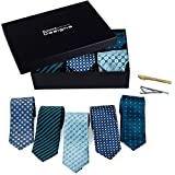 #10: Men's Tie Set - 5 Luxury Neckties And 2 Classy Tie Bars In Gift Box By Pointed Designs