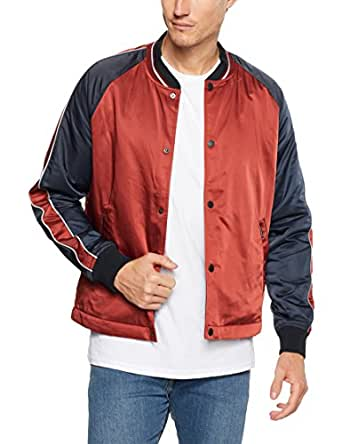 Ben Sherman Men's Snap Front Luxe Bomber Jacket, Rust, 2XL
