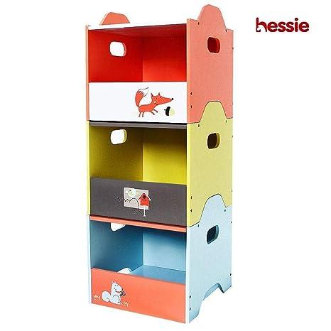 Hessie Caja de madera empilable de 3 capas/almacenaje / organizador, sitio de los