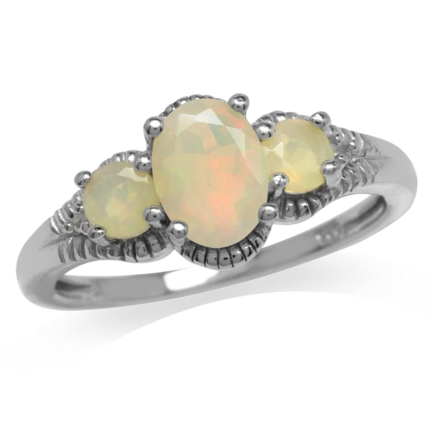3-Stone Genuine Opal & White Topaz Gold Plated 925 Sterling Silver Ring