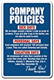 SignMission Company Policies Decal Employment Work Rules Job Employee Vacation | Indoor/Outdoor | 5' Tall