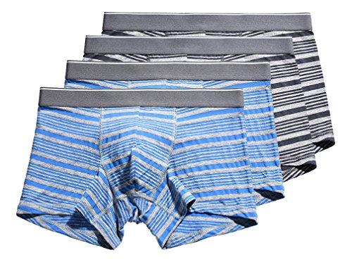 Scennek Mens Seamless Stripe 4-Pack Cotton Flexible Underwear Boxer (Patterned Stripe Boxer)