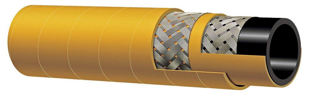 Kuriyama T142AK300X50 High-Temperature Oil-Resistant Steel Braided Reinforced Air Hose, 600 PSI, 3.540'' Outside Diameter, 3'' Inside Diameter, Yellow