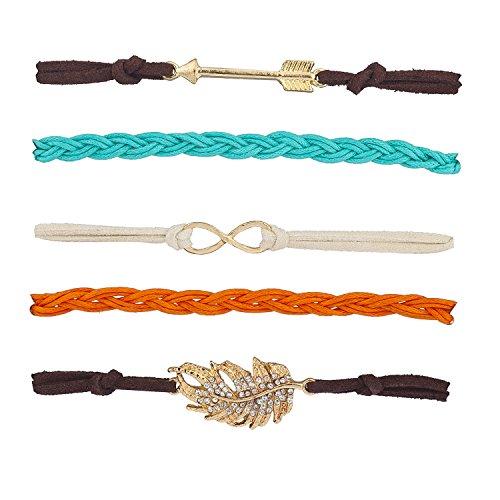 Lux Accessories Gold Tone Earthy Boho Arrow Infinity Arm Candy Bracelet Set 5PC