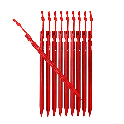Aluminum Tent Stakes (Sportneer 10x Tent Stakes Heavy Duty pegs with Carrying Pouch, Red)