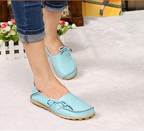 Damesschoenen Voor Dames Koeienhuid Casual Instappers Loafers Bootschoenen Flats Blue1