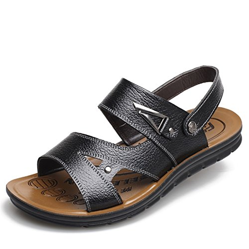 XUE 2018 New Men's Shoes Sandals Leather Spring Summer Velcro Shoes Breathable Walking Beach Shoes Black, Brown B
