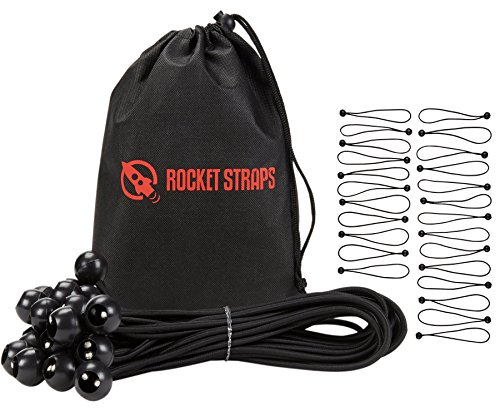 "Rocket Straps | 25PC Bungee Balls | Ball Bungee Canopy Ties | Extreme Heavy Duty Extra Long 11"" x 5mm 