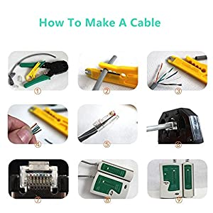 Network Cable Repair Tool Kit Set Comptuer Maintenance 11 in 1 Portable Computer Phone Cable Crimper 8P8C 4P4C 6P6C Connectors RJ45 RJ11 Cat5 Cat6 Cable Tester Wire Stripper