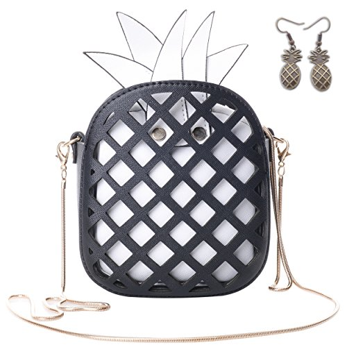 (QZUnique Women's PU Pineapple Shaped Hollow Out Clutch Purse Cross Body)