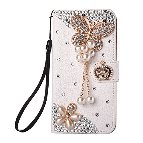 iPhone 6 plus wallet case,iphone 6s plus wallet case with Strap,Sunvy New Luxury Crystal for women [Kickstand][Card Holder] Shockproof Full Protective Cover for iphone 6 plus /iphone6s plus