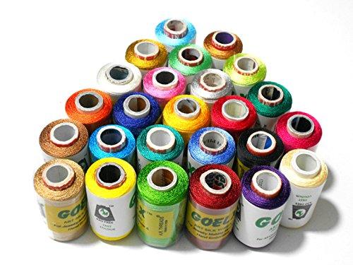 Goelx Silk Thread 25 Main color Set for jewellery-tassel making- embroidery-crafts, shiny soft thread spools