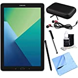 Samsung Galaxy Tab A 10.1 Tablet PC Black w/S Pen Bundle includes Tablet, Microfiber Cloth, Cleaning Kit, Stylus Pen with Clip, Hard EVA Case with Zipper for Tablets