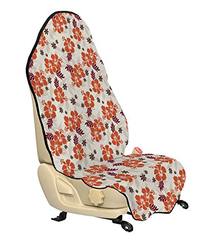 Ambesonne Hawaii Car Seat Cover, Abstract Aloha State Floral Pattern Hibiscus Spring Holiday Theme Design, Car and Truck Seat Cover Protector with Nonslip Backing Universal Fit, Orange Ruby Dark Taupe