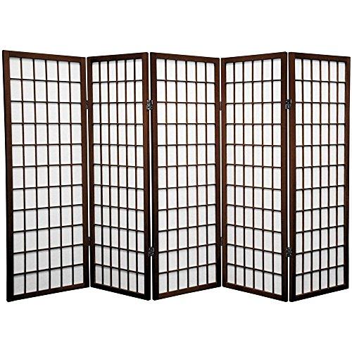 (Oriental Furniture 4 ft. Tall Window Pane Shoji Screen - Walnut - 5 Panels)