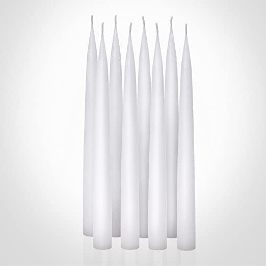 8 DECORATIVE WHITE TAPER CANDLES Classic 10 Long Thin Dripless