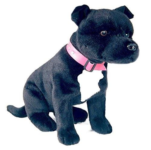 Bocchetta Plush Toys Staffordshire Terrier Sitting Staffy Dog Soft Plush Toy - DJ Medium Black (Bull Terrier Plush)