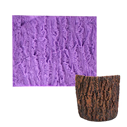 KALAIEN Tree Bark Texture Silicone Mold Cupcake Wedding Silicone Cake Decorating Tools Fondant Impression Mat