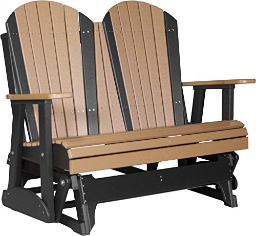 Poly Lumber Wood 4 Foot Porch Glider - Adirondack Design - CEDAR / BLACK (4' Adirondack Glider)