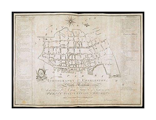 1790 Wall Map Charleston ICHNOGRAPHY OF CHARLESTON, South Carolina  Ready to Frame Historic Antique Vintage - South Charleston Carolina Outlets