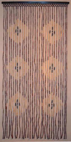Natural Bamboo & Wood Beaded Curtain, Diamond Pattern , 35.43″ W X 71″ H # 69-907