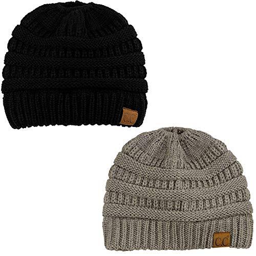 CC Ponytail Messy Bun BeanieTail Soft Winter Knit Stretchy Beanie Hat Cap Black/Lt. Melange Gray 2 Pack Combo Black Knit Beanie Cap Hat
