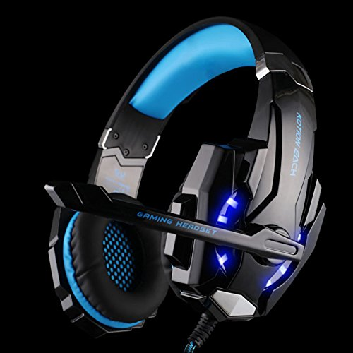 Kotion Each G9000 Gaming Headset Headphone 3.5mm Stereo Jack with Mic LED Light for Xbox One S/Xbox one/PS4/Tablet/Laptop/Cell Phone (Black Blue)