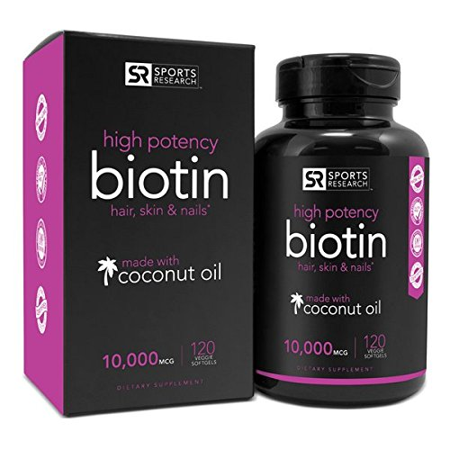 Biotin 10,000mcg with Coconut Oil | Non-GMO & Gluten Free – 120 Mini Veggie Softgels