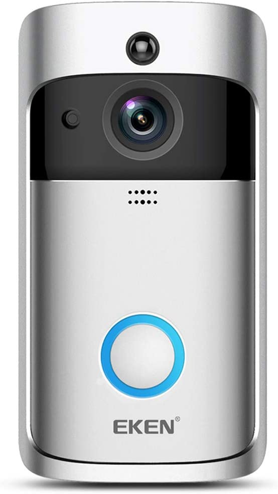 EKEN New Video Doorbell 2 720P HD WiFi Camera Real-Time Video Two-Way Audio Wide-Angle Lens Night Vision PIR Motion Detection App Control with Free Chime (Add Both to Cart) & Built-in 8GB Card