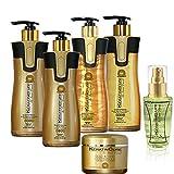 Keratin Cure Best Treatment Gold & Honey Bio 6 Pieces Silky Soft Hair Formaldehyde Free Professional Complex Argan Oil Nourishing Straightening Damaged Frizzy Coarse Curly Wavy Hair (460ml/ 15 fl oz) Review