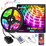 LED Strips Lights 5M, SOLMORE 16 Million Colors Rope Lights Sync with Music 5m/16.4ft SMD5050 RGB Light Strip Kit with Remote & Smart APP Control for Home Decoration Halloween Christmas Wedding Pa