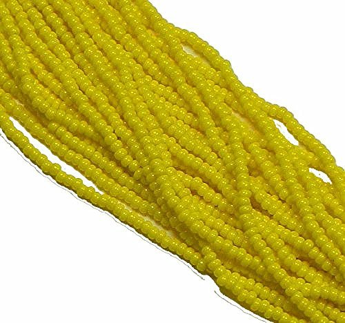 Seed Bead Loose (Yellow Opaque Czech 6/0 Seed Bead on Loose Strung 6 String Hank Approx 900 Beads)