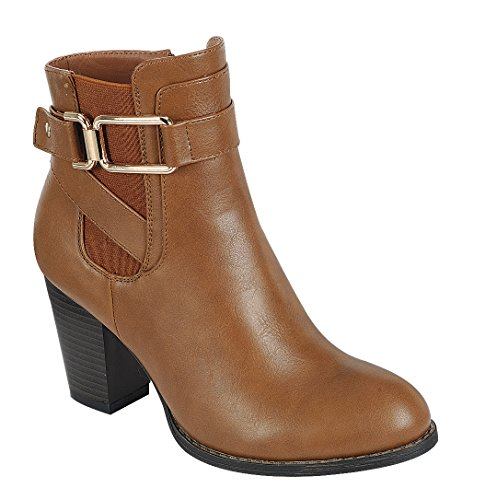 Cambridge Select Women Strappy Buckle Chelsea Chunky Gestapelde Hak Enkellaarsje Tan