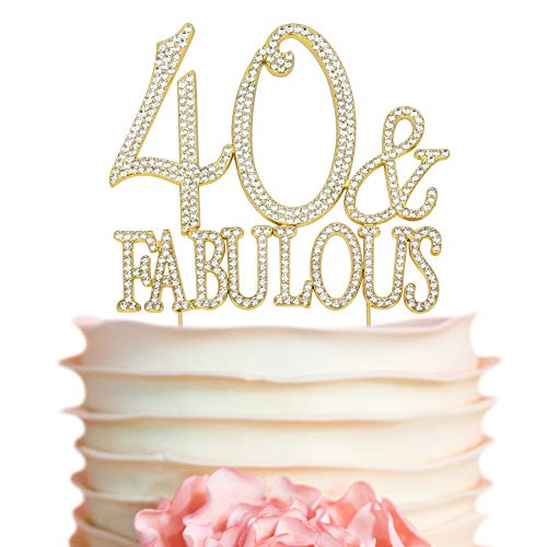 40 and Fabulous GOLD Cake Topper | Premium Sparkly Crystal Rhinestones | 40th Birthday Party Decoration Ideas | Quality Metal Alloy | Perfect Keepsake (40&Fab Gold)