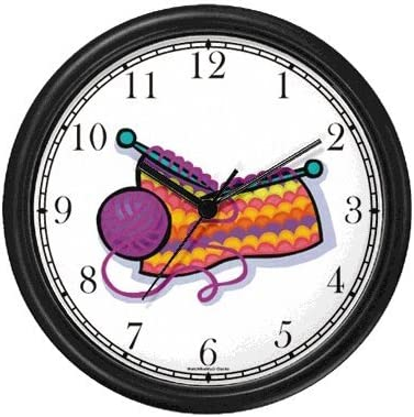 WatchBuddy Knitting with Yard Ball Wall Clock Timepieces Black Frame