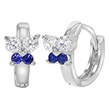 """Rhodium Plated Blue and Clear Crystal Butterfly Huggie Earrings Girls 0.39"""""""