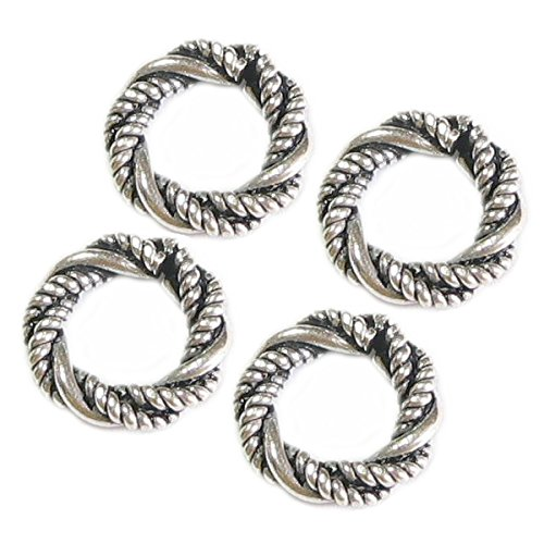 Sterling Silver Twisted European Style Spacer Bead Charm ()