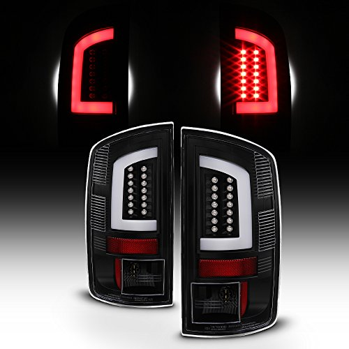 For 2007-2008 Dodge Ram 1500 07-09 Ram 2500 3500 LED Bar Tube Black Tail Lights Brake Lamps Pair