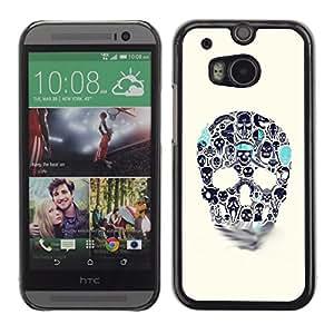 Shell-Star Arte & diseño plástico duro Fundas Cover Cubre Hard Case Cover para HTC One M8 ( Blue Beige Skull Teal Death Tattoo Ink )