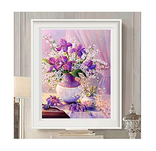 Diamond Painting Embroidered Living Room Full of Diamonds Purple Flower Vase Point Paste Brick Show Small Cross Stitch (Size : 13090cm)