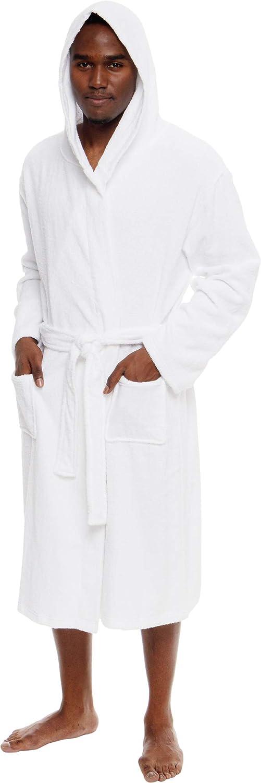 Ross Michaels Mens Lightweight Cotton Terry Robe Luxury Hooded Bathrobe w//Shawl Collar