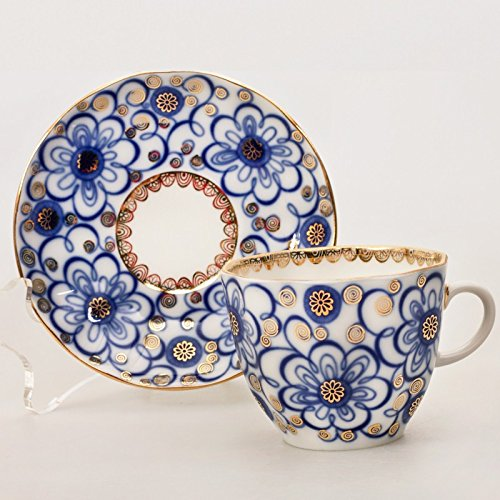 Bindweed Coffee Cup w/ Saucer. 4.7 Fl Oz. 22k Gold ()