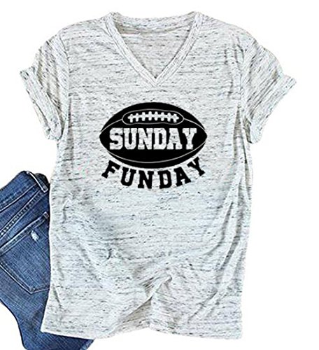 Sunday Funday Letters Print T Shirt Women Football Sport Casual Short Sleeve Top (XX-Large, White)
