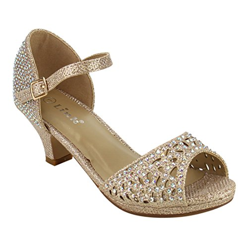 Big Buckle Sandals (Link IF65 Girl's Rhinestone Cutout Buckle Ankle Strap Chunk Heel Sandals, Color:CHAMPAGNE, Size:4 M US Big Kid)