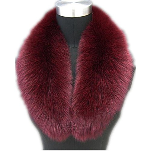 Fur Collar (Large Long Detachable Natural Fox Fur Collar for Winter (80CM, wine-red))