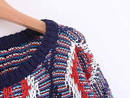 Elastic Patchwork O Suelto Jerseys Jump Suéter Y Cuello Sleeve Sueter Suéteres Lantern Drhgksp Vintage Mujer Geométrico EI1acwwq